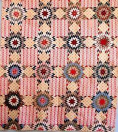 Beautiful Antique Handmade LAE 1800s Prarie Star Bouquet Quilt Pink Brown Blue   eBay