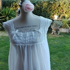 Camicia da notte shabby chic vintage bianca wedding sposa pizzo bianco donna romantica nightgown woman