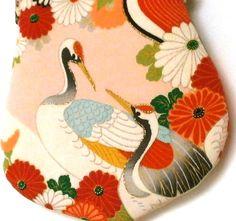 Clutch bagpurse / Japanese vintage kimono fabric. Cranes di ketela
