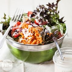 If you ask us, the dressing definitely makes the salad, but it's hard to find one that tastes great and isn't loaded with fat. That's why we were thrilled when our test-kitchen director shared this easy DIY dressing. It's packed with creamy, delicious flavor—with a fraction of the fat and calories of bottled brands.