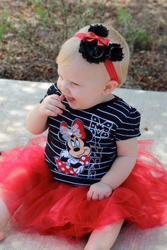 Shabby Chic Minnie. Black chiffon flower Minnie Mouse headband with red sequin bow and elastic band.. $10.00, via Etsy.