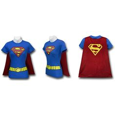 Supergirl, Wonder Woman, Batgirl, and Robin Caped Costume Shirts ❤ liked on Polyvore
