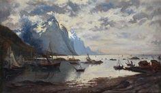 Artwork by Eilert Adelsteen Normann, Norwegian Fjord Landscape, Made of oil on panel