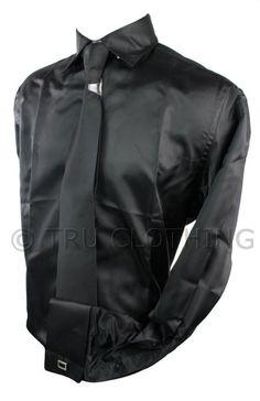 Mens Italian Design Black Silk Satin Finish Double Cuffed Shirt & Tie W Links
