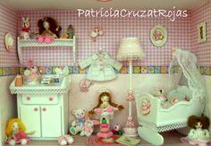 Un Dormitorio en Miniatura dentro de un Cuadro para Ella... Patricia Cruzat Artesania y Color