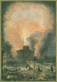 The Girandola at the Castel SantAngelo, Etching with hand-coloring, The MET. This drawing depict the fireworks sponsored by the papacy in 1471. Designed by Louis Jean Desprez (French, Auxerre 1743–1804 Stockholm). Etched by Francesco Piranesi (Italian, Rome 1758–1810 Paris). This subject depict glorious time of Rome, dreamed by travellers of the Grand Tour.