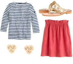 Navy stripes, coral, and gold.