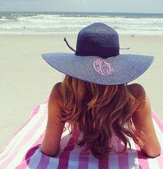 Monogrammed Floppy Hat - Beach Hat - Derby Hat - Monogram by MonogramBelle on Etsy https://www.etsy.com/listing/178614180/monogrammed-floppy-hat-beach-hat-derby