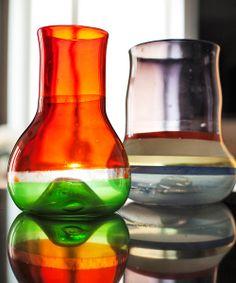 Kaj Franck glass from Glorian Antiikki Photo Pia Inberg. Glass Art Design, Glass Vessel, Finland, Retro, Objects, Pottery, Vintage, Syrup, Decoration