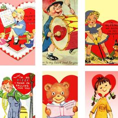 Vintage Valentine Card digital collage sheet for domino jewelry necklace pendant 25mm x 50mm 1x2 in retro vintage pink red. $3.00, via Etsy.