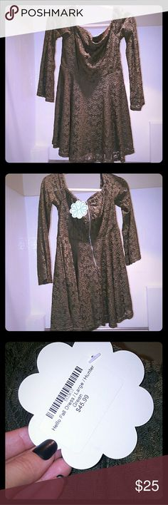 Spring Dress from Shophopes.com New! Moss green off the shoulder lace dress Dresses Long Sleeve