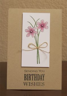 "Pretty, clean and classy birthday card by Ashley Harris. Created with the ""hard to get your hands on"" January Greenhouse Society stamp set from TechniqueTuesday.com."