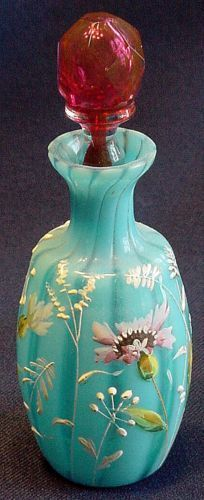 Victorian ART-Glass Blue Floral Enamelled Perfume Bottle with Cranberry/Blood faceted Glass Stopper
