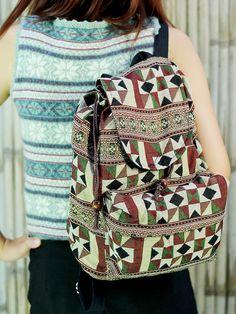 Abstract tribal native design backpack/ School Bag/ Ethnic rucksack/ holiday bag /Hippie / Boho/ Folk / gypsy / handwoven/ tapestry bag