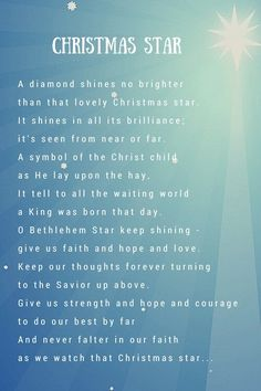 christmas star poem - Google Search