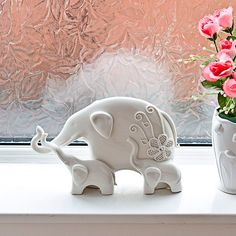 Ceramic Elephant Ornament White With 2 Young Mantelpiece Sill Table