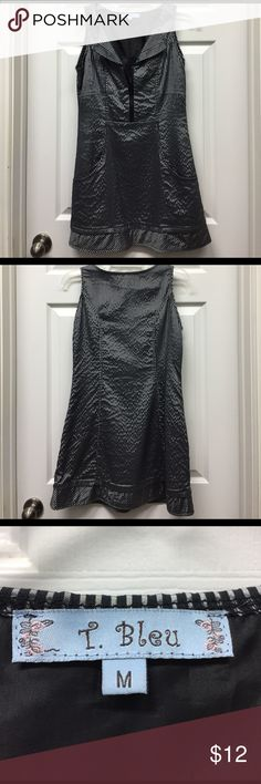 Black and silver super cute dress💜💜💜 Polyester black & silver dress. OMG!! So cute on. Comes above knees. Fantastic puckers in front and a half zipper to add sex appeal or not. Side zipper for putting on & taking off with ease. This is a work to evening dress!! T. Bleu Dresses Midi