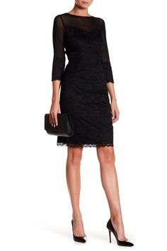 3/4 Length Sleeve Tiered Lace Sheath Dress by Marina on @nordstrom_rack