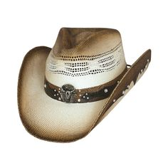 Q Headwear Tea Stained Western Cowboy Hat with Orange /& Silvery Beaded Band