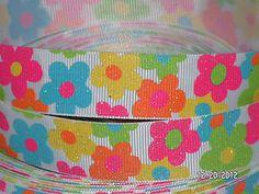 7/8 GLITTER Multi Color Spring FLOWERS Grosgrain Ribbon Gymboree 1 YARD