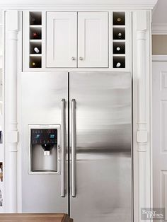 Avoid countertop clutter with clever wine cubbies. The small-scale nooksmake good use of space above a refrigerator and expand the kitchenvisually. Because heat rises, store sparkling wines on the lowest shelf, white wines above them, and reds at the highest level.