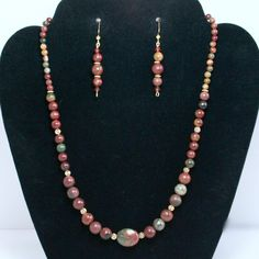 - Stunning Fall/Winter colors in this Jewelry Set with Picasso Jasper in 4 size Polished Round stones. - Rich shades of Brick Red, Greens & Gold. - Accented with a focal bead of Picasso Jasper in a la