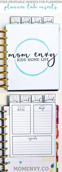 Free Dividers for Planners from Mom Envy