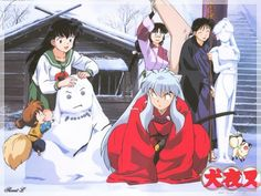 Shippo, Kagome, InuYasha, Sango Miroku, and Kirara from InuYasha Amor Inuyasha, Inuyasha Funny, Inuyasha Fan Art, Inuyasha And Sesshomaru, Kagome And Inuyasha, Miroku, Kagome Higurashi, Anime Nerd, Manga Anime