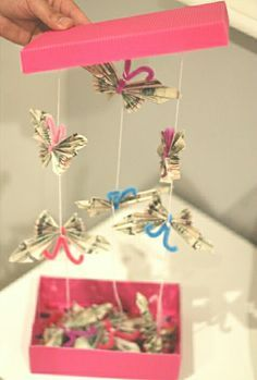 Cute and creative way to give money! Flying butterfly money box