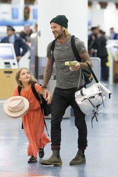 David Beckham wearing Saint Laurent Skinny Fit Denim Jeans
