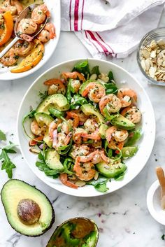 This simple, flavorful shrimp salad makes the perfect meal-prep meal for lunch or dinner thanks to pan-seared citrus shrimp, avocado, and sliced almonds. Shrimp Avocado Salad, Avocado Salad Recipes, Easy Salad Recipes, Easy Salads, Shrimp Recipes, Healthy Dinner Recipes, Cooking Recipes, Avocado Dessert, Detox Recipes