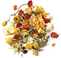 Mother's Little Helper David's Tea: peppermint, lemongrass, hibiscus, rosehips, chamomile, valerian root, cornflowers, peppermint flavouring