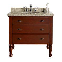 36 in. W x 23 in. D Vanity in Dark Brown Cherry with Granite Vanity Top in Beige with White Basin-Vanguard BF80612R - The Home Depot