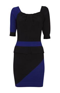 Karen Millen Modern knit dress black and blue [#KMM058] - $86.19 :