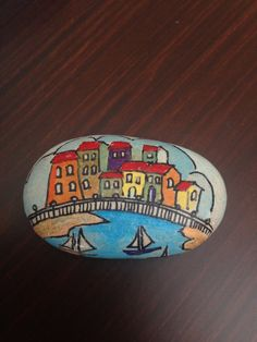 Hand painted landscape on the pebble- Pebble Art - Hand Painted Stone-Home Decor -Decorative Rock- Acrylic