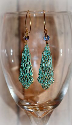 Use code PIN10 for 10% off Verdigris Brass Patina Filigree Earrings with Amethyst Crystals by Cheshujewelry