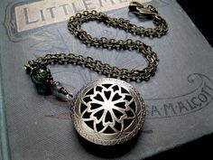 Scent or Perfume Locket in Antique Brass and Emerald Green. Victorian Filigree Aromatherapy Steampunk on Etsy, $57.27 AUD
