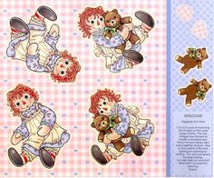 Raggedy Ann and Andy Stuffed Doll Wall Hanging by Fabrics4Kids