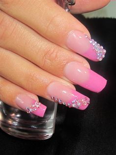 Pink n bling nail art design