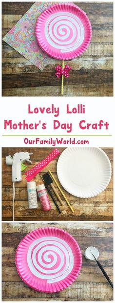 Looking for a beautiful yet simple Mother's Day craft idea? This pink lollipop paper plate craft is so charming and perfect for all ages!