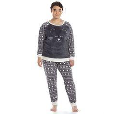 aa33523607 SO® Pajamas  Fuzzy Animal Fleece Pajama Set - Juniors  Plus Size Sock  Leggings. Kohl s