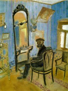Marc Chagall. La barbería (tío Zusman). Gouache y óleo sobre papel. Tretyakov Gallery, Moscú. WikiPaintings.org - the encyclopedia of painting