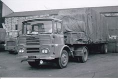 B/W PHOTO BRITISH ROAD SERVICES GUY BIG J ARTIC FLAT TRAILER - PRC 134F (KJ82) #Notapplicable Vintage Trucks, Old Trucks, Classic Trucks, Classic Cars, Old Lorries, Road Transport, Commercial Vehicle, Back In The Day, Transportation