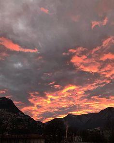 "mb68 su Instagram: ""#theskyoverme #goodmorning #orangesky #lugano #ticino #switzerland #suisse #sunrise #clouds"" Orange Sky, Lugano, Switzerland, Good Morning, Sunrise, Clouds, Celestial, Outdoor, Instagram"