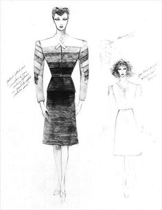 Michael Kaplan's sketches for Sean Young as Rachael Tyrell in Blade Runner