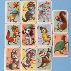 Vintage Whitman Animal Rummy Playing Cards from timepassages on Etsy