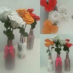 Trio de flores, ótimo para decorar e dar um toque de cores à um ambiente da casa. Uma opção fofa de presente. *Se você juntar garrafinhas ganha desconto!  Encomendas por 📲 whats 011972450759 ou 💬 inbox no face Box by Van #boxbyvan #floreseva #floresartificiais #floresfake #artesanato #decor #colors #followme #likes #likeforlike