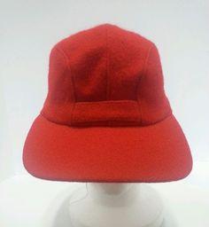 ea4356b2953 Vintage Woolrich  Hunter s Cap Red Wool with Flap Flat Bill Men s Size  Small  HuntersCap