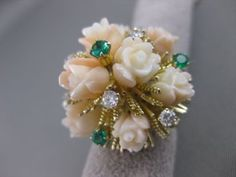ANTIQUE DIAMOND EMERALD CORAL 14K YELLOW GOLD FILIGREE FLOWER COCKTAIL RING