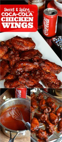 Bake up a batch of these easy Sweet & Spicy Coca-Cola Chicken Wings made with an easy homemade Coca-Cola BBQ sauce. Bake up a batch of these easy Sweet & Spicy Coca-Cola Chicken Wings made with an easy homemade Coca-Cola BBQ sauce. New Recipes, Cooking Recipes, Favorite Recipes, Disney Recipes, Disney Food, Recipes With Hot Sauce, Easy Bbq Recipes, Smoker Recipes, Drink Recipes